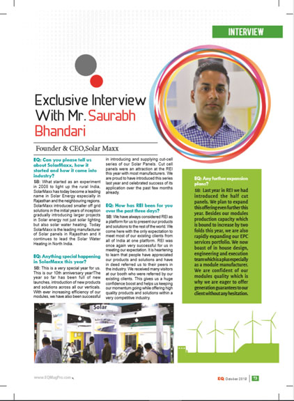 EQ Oct 2018 interview saurabh bhandari india solar power