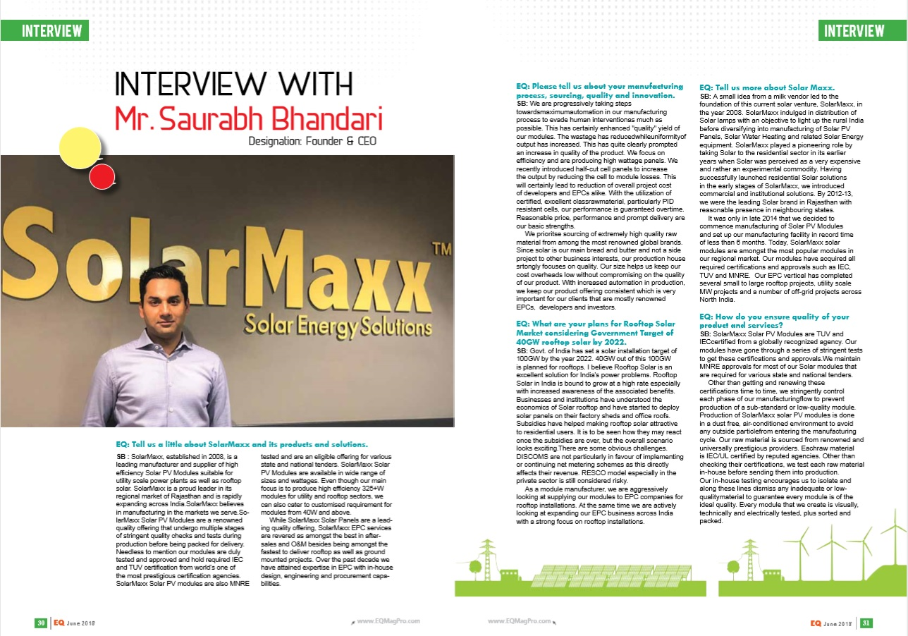 EQ international interviews Saurabh Bhandari, SolarMaxx on solar energy matters