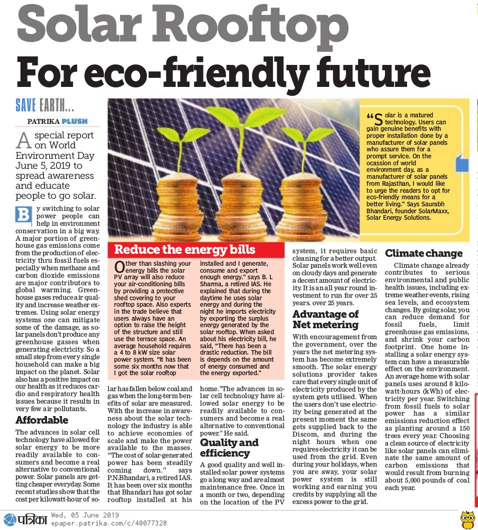 Solar Rooftop awareness message on World Environment Day 20019 with SolarMaxx reviews in Patrika Plush media coverage