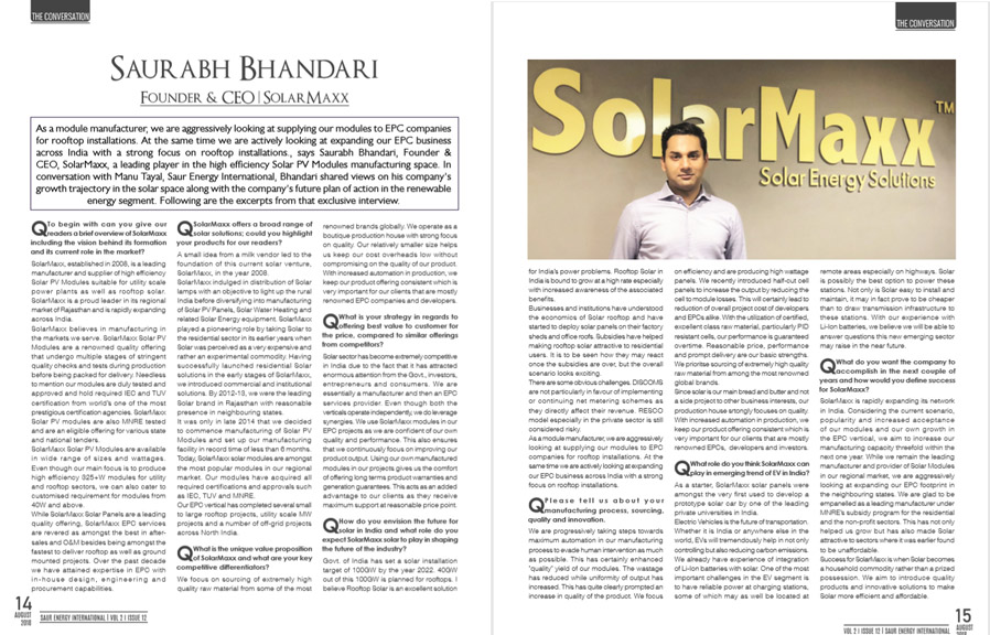 saur energy international solarmaxx saurabh bhandari invetview solar rajasthan practices