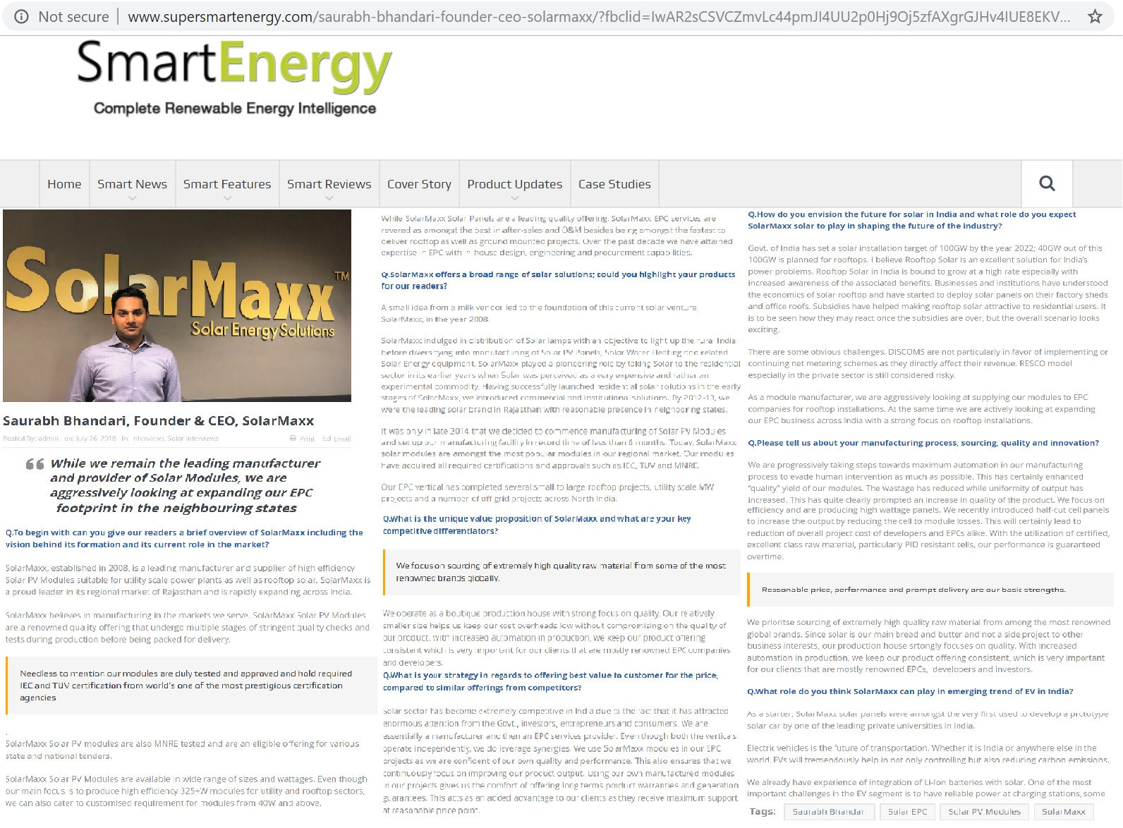 Smart Energy interviews Solar PV manufacturer Saurabh Bhandari from Rajasthan