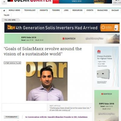 """Vision of a sustainable world"" says CEO, SolarMaxx"